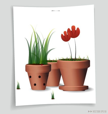 clay pot: Red Flower Plant in Clay Pot illustration. Stock Photo