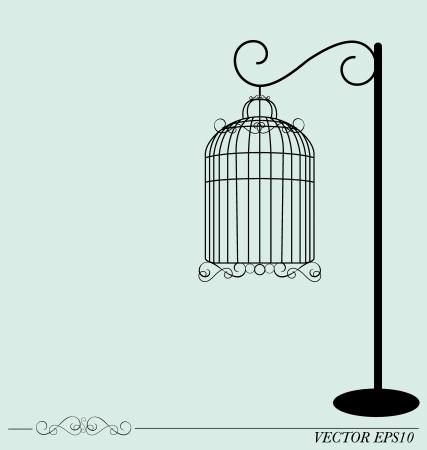 ビンテージ鳥かご、イラスト。 写真素材