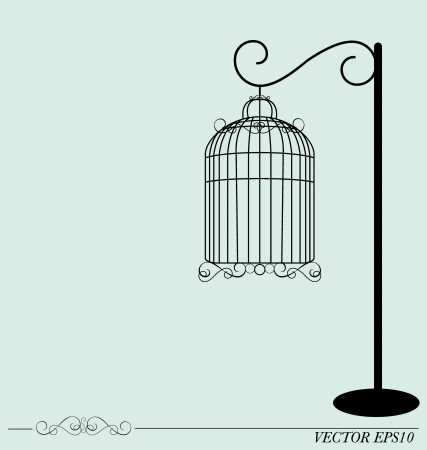 Vintage birdcages, illustration.