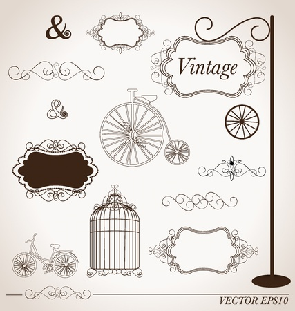 set of vintage design elements, can be used for wall sticker. photo