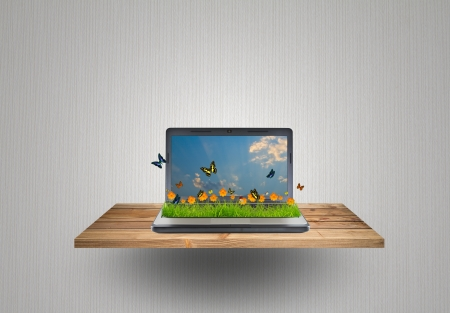Laptop  with yellow flower,grass and butterfly on wood shelf photo