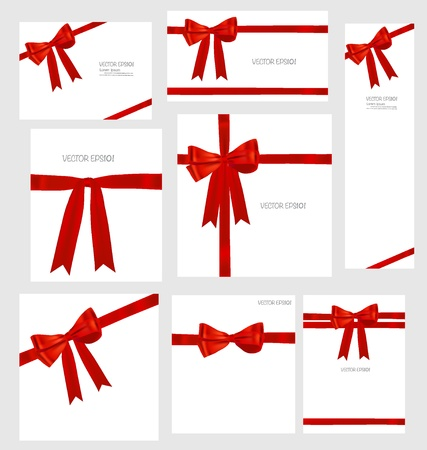 Set of Shiny red ribbons and beautiful gifts