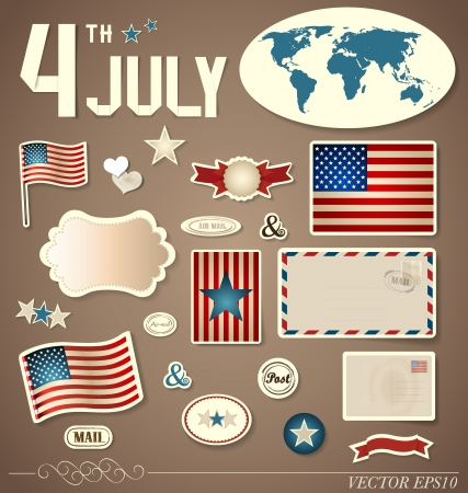 set of vintage design elements: American Flag, can be used for sticker. Vector