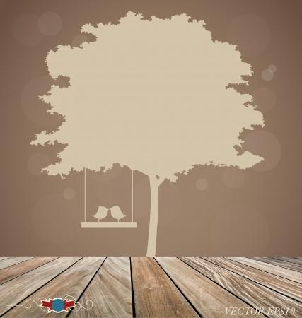 black wedding couple: background with tree and bird