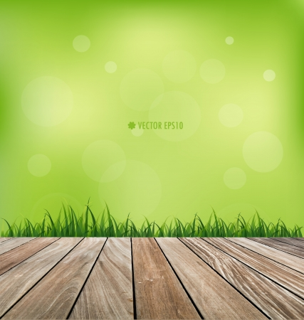 nature background: Fresh spring green grass and wood floor