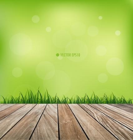 Verse lente groen gras en houten vloer