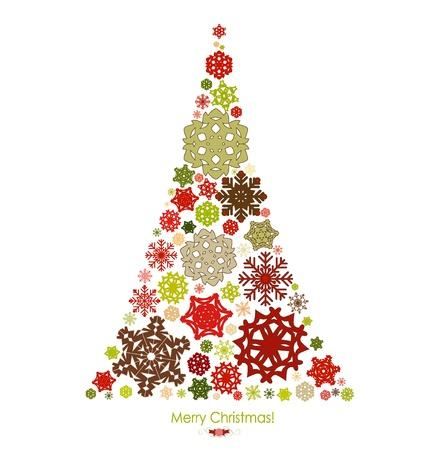 illumination: De fondo de Navidad con ?rbol de navidad, ilustraci?n vectorial.