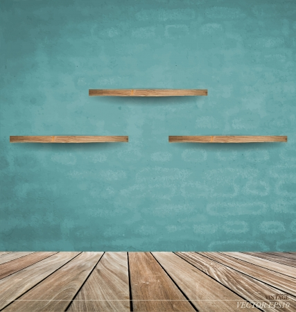 advertising material: Empty wood shelf on blue brick wall. Vector illustration.