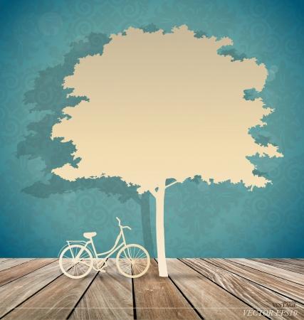 under the tree: Vector de fondo con la bicicleta bajo el �rbol. Ilustraci�n vectorial.