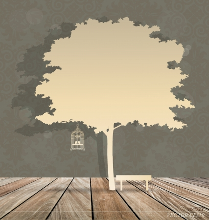 vintage: Abstract background with vintage birdcage under tree. Vector Illustration. Illustration