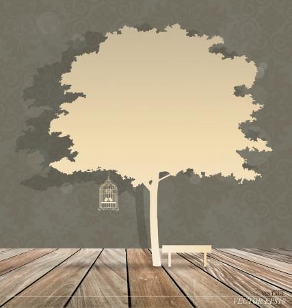 vendimia: Resumen de antecedentes con birdcage del vintage debajo del árbol. Ilustración vectorial. Vectores
