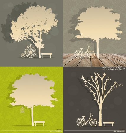 Set of Abstract tree background. Vector Illustration. Vector