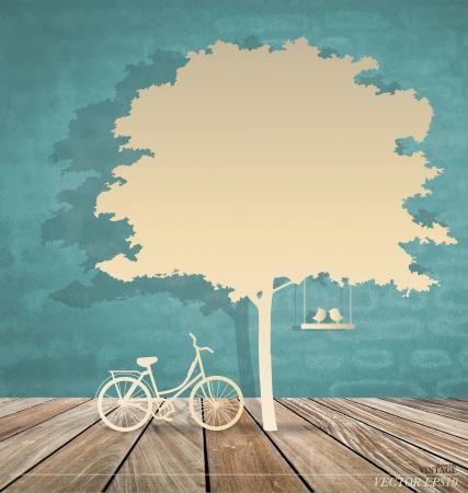 Abstrakcyjne tło z rowerem pod drzewem. Ilustracja wektora.