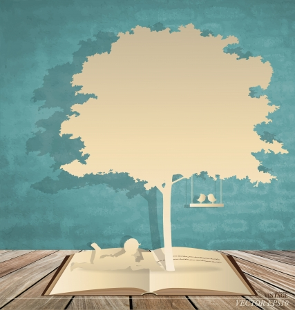old people reading: Abstract background with children read a book under tree. Vector Illustration. Illustration