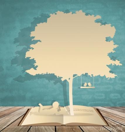 Sfondo con i bambini a leggere un libro sotto l'albero. Illustrazione vettoriale.