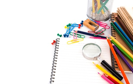 School stationery isolated on white background photo