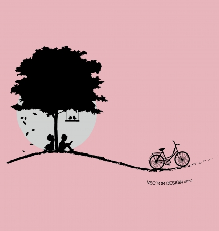 bicycle silhouette: Valentine background with tree, bird and sunset. Valentines Day. Vector Illustration.