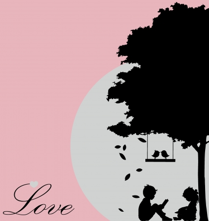 Valentine background with tree, bird and sunset. Valentine's Day. Vector Illustration. Vector