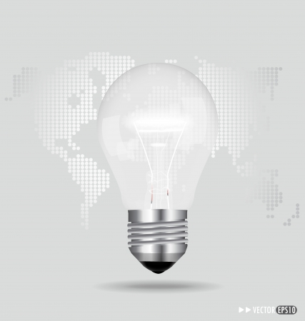 Illustration of an electric light bulb with a world map. Vector EPS10 Vector