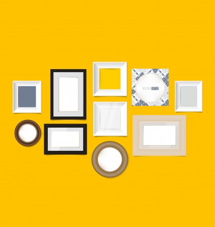 Picture frames, photo art gallery on vintage wall Stock Vector - 21831717