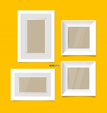 Picture frames on yellow wall. Vector EPS10 Stock Vector - 21395542