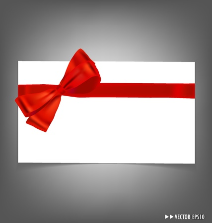 Card with red ribbons bows. Vector illustration. Vector
