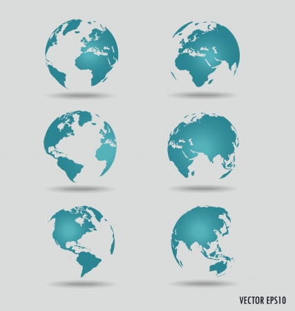 regions: Set of modern globes. Vector Illustration. Illustration