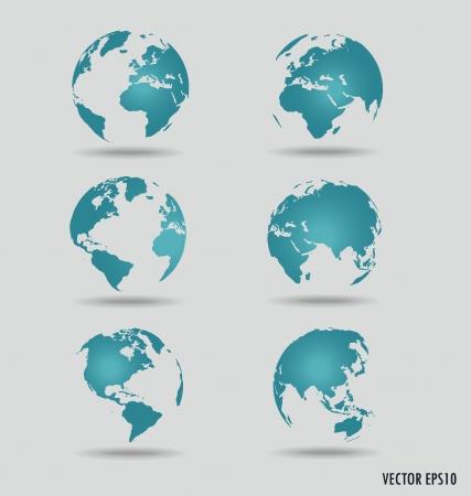 Zestaw nowoczesnych globusy. Ilustracji wektorowych.