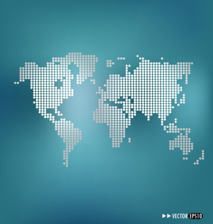 map of china: Dotted world map. Vector illustration. Illustration
