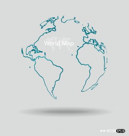 Modern globe drawing concept. Vector illustration. Vector
