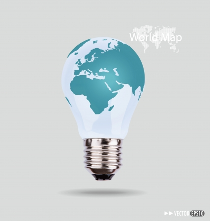 electric light: Illustration of an electric light bulb with a world map.