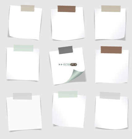 note board: Set of various note papers, ready for your message. Vector EPS10