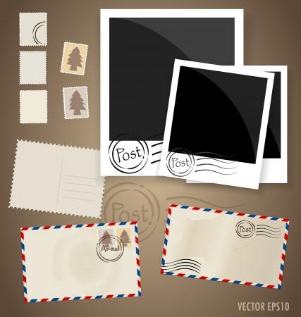 Vintage postcard designs, envelope and postage stamps. Vector