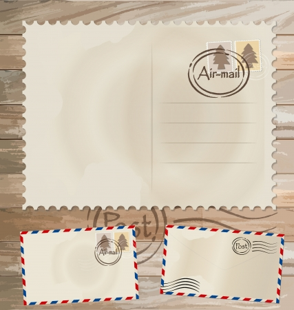 Vintage postcard designs, envelope and postage stamps. Vector