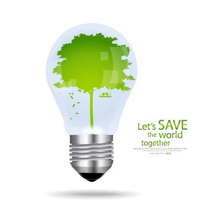 Uratować świat, żarówka z wewnątrz drzewa. ilustracji.