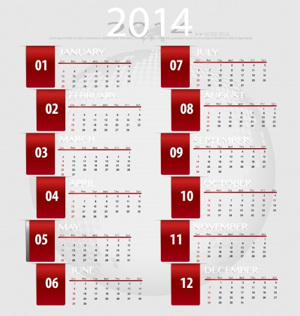 event planner: Simple 2014 year calendar, illustration.