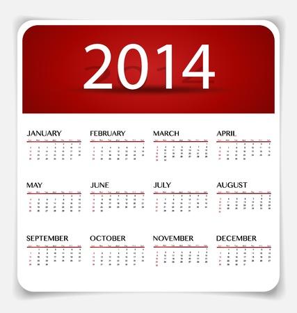 Einfache 2014 Jahre Kalender, Illustration.