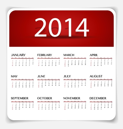 Simple 2014 year calendar, illustration. Stock Vector - 21693623