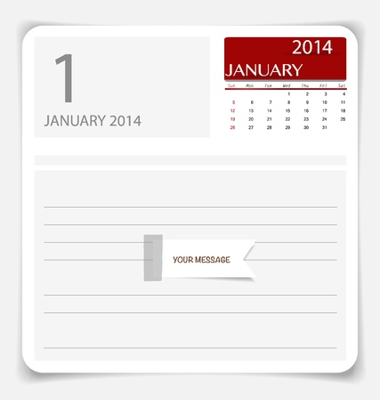 Simple 2014 calendar, January. illustration. Vector