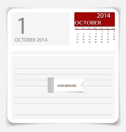 kalender oktober: Eenvoudige 2014 kalender, oktober. illustratie.