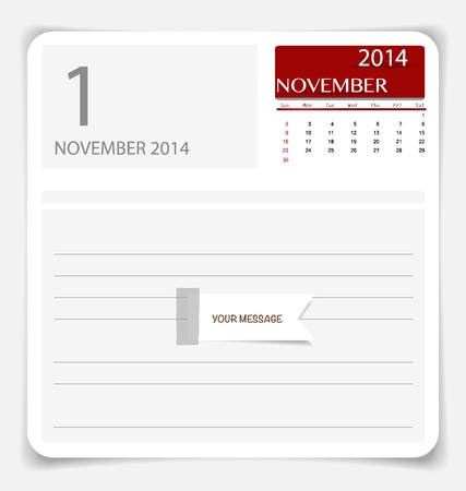 Simple 2014 calendar, November. Illustration. Vector