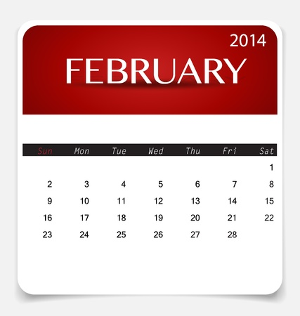 Simple 2014 calendar, February. Illustration. Vector
