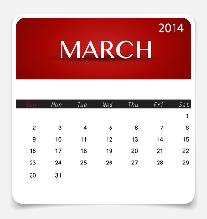 Simple 2014 calendar, March. Illustration. Vector