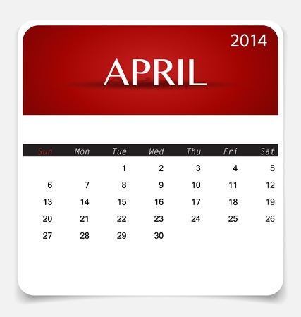 Simple 2014 calendar, April. Illustration. Vector