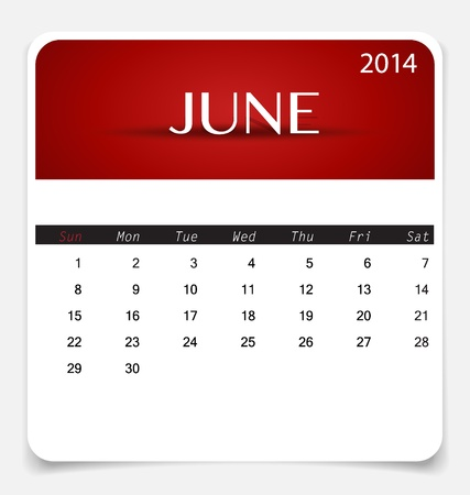 Simple 2014 calendar, June. Illustration. Vector
