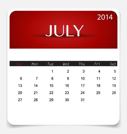 Simple 2014 calendar, July. Illustration. Vector