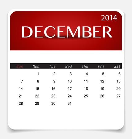december kalender: Eenvoudige kalender 2014, december. Illustratie. Stock Illustratie