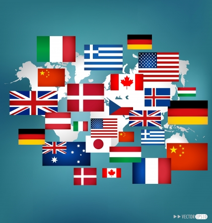 World flags. Illustration. Vector