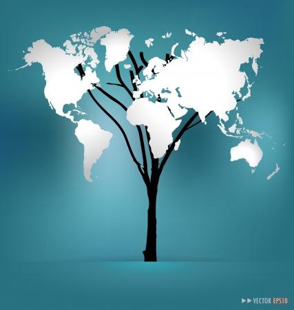 Drzewo w kształcie map.Illustration świat. Ilustracja