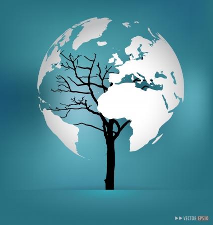 save the sea: Tree shaped world map. Illustration.